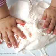 Kneading playdough using three ingredients