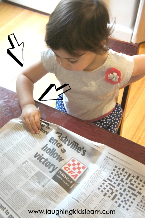 Toddler fine motor activity and exercises using newspaper