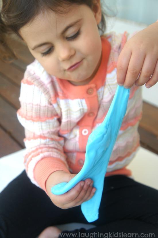 Stretching flubber uses fine motor skills