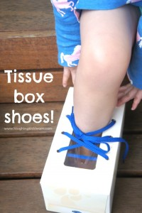 Teach children to tie their shoelaces with this simple to make tissue box shoe