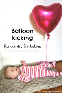 Balloon kicking is a great activity for babies to play