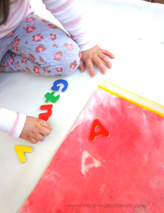 Letter printing in shaving cream. Fun for preschoolers and beginner writer.