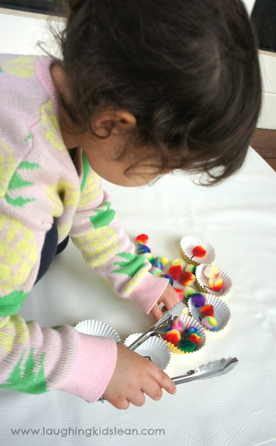 fine motor counting activity using tongs