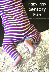 Sensory baby play fun using tin foil