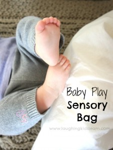 Baby play sensory bag activity is lots of fun