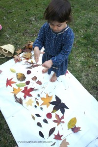 Making a collage of leaves on a large scale