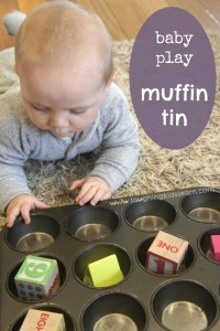 Sensory baby play with a muffin tin