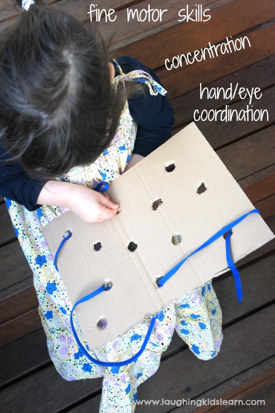 Simple lacing board helps build fine motor skills, concentration and hand/eye coordination