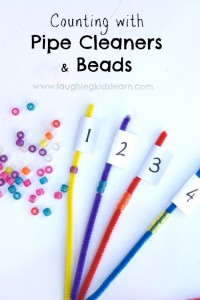 Counting with pipe cleaners and beads math activity for preschoolers