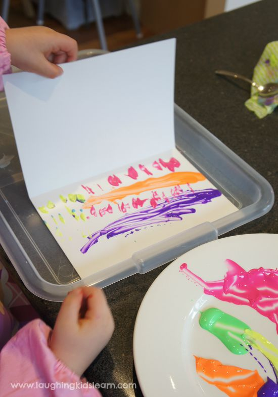 Press painting with kids is lots of fun and easy to set up
