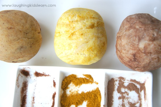 Playing with playdough with different spices and smells. Wonderfully scented