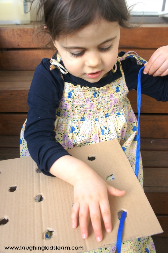 Sewing for beginners using a lacing board. Easy to make and a great homemade toy
