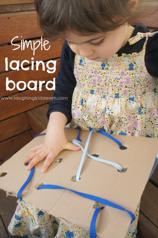 This simple lacing board for kids is an easy homemade toy that will help develop a child's fine motor skills and more