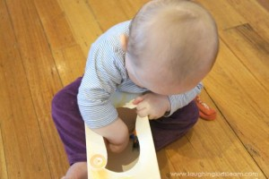 Baby play idea using a tissue discovery box