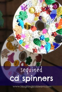 Sequined cd spinners. craft for toddlers or preschoolers