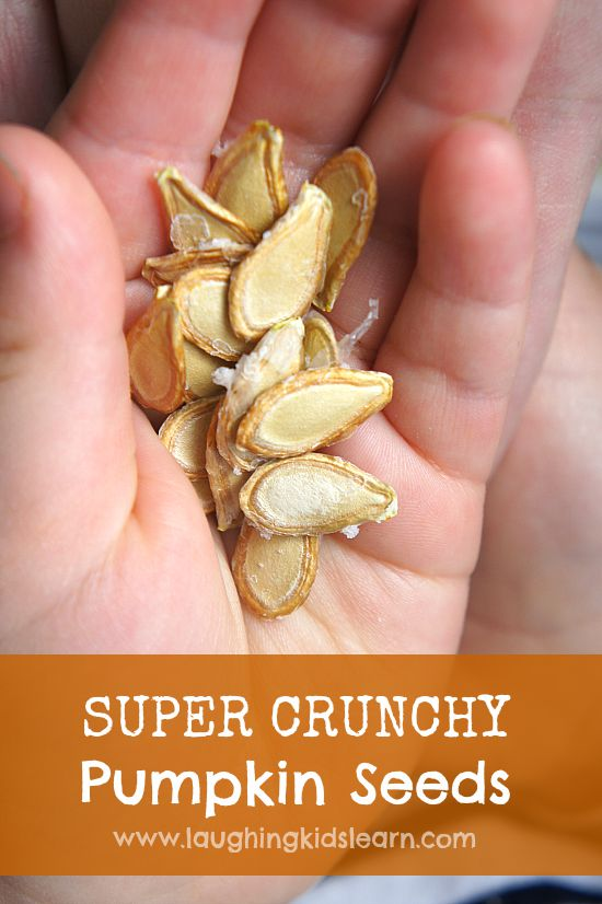 Super crunchy pumpkin seed snack idea for kids.