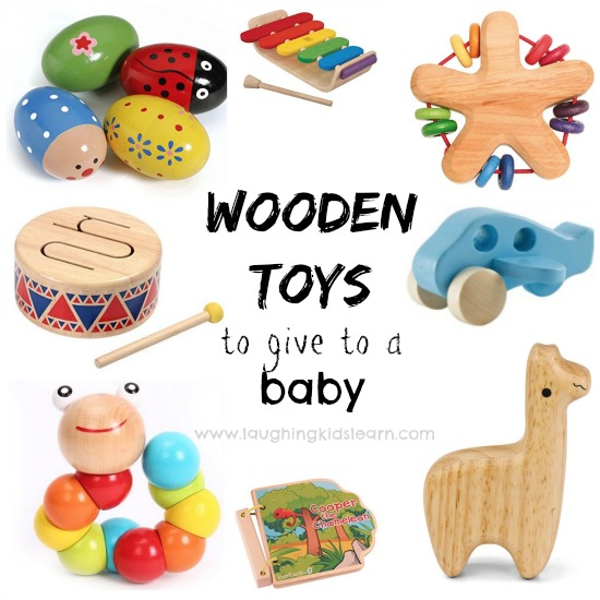 Wooden toys to give to a baby