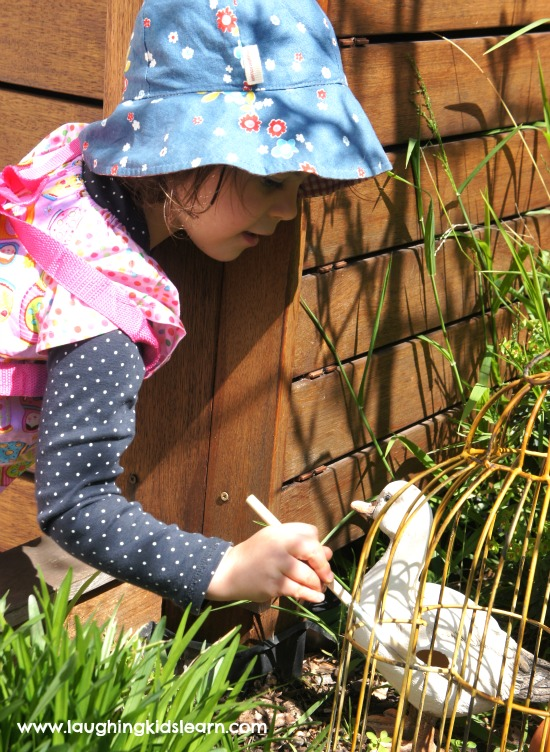Fun activity painting with water outdoors