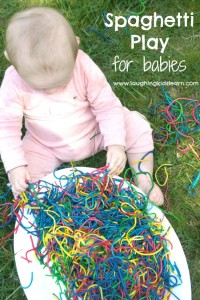 Spaghetti Play for babies is a great sensory play idea