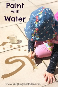 Paint with water activity for kids who are bored or wanting to be creative outdoors.
