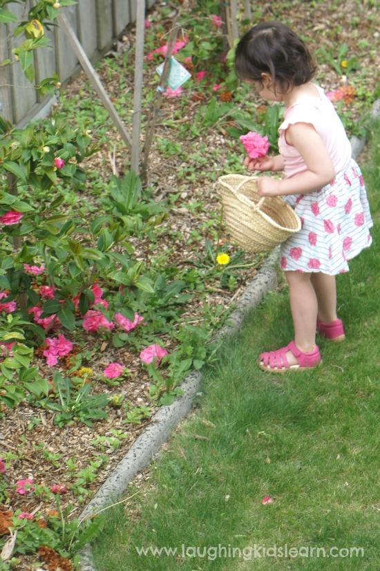 Picking Dandelions in the garden