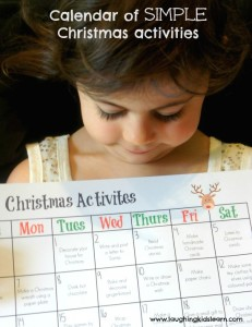Simple Christmas activity calendar for kids to use in December