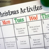 Christmas activities calendar that's a free printable