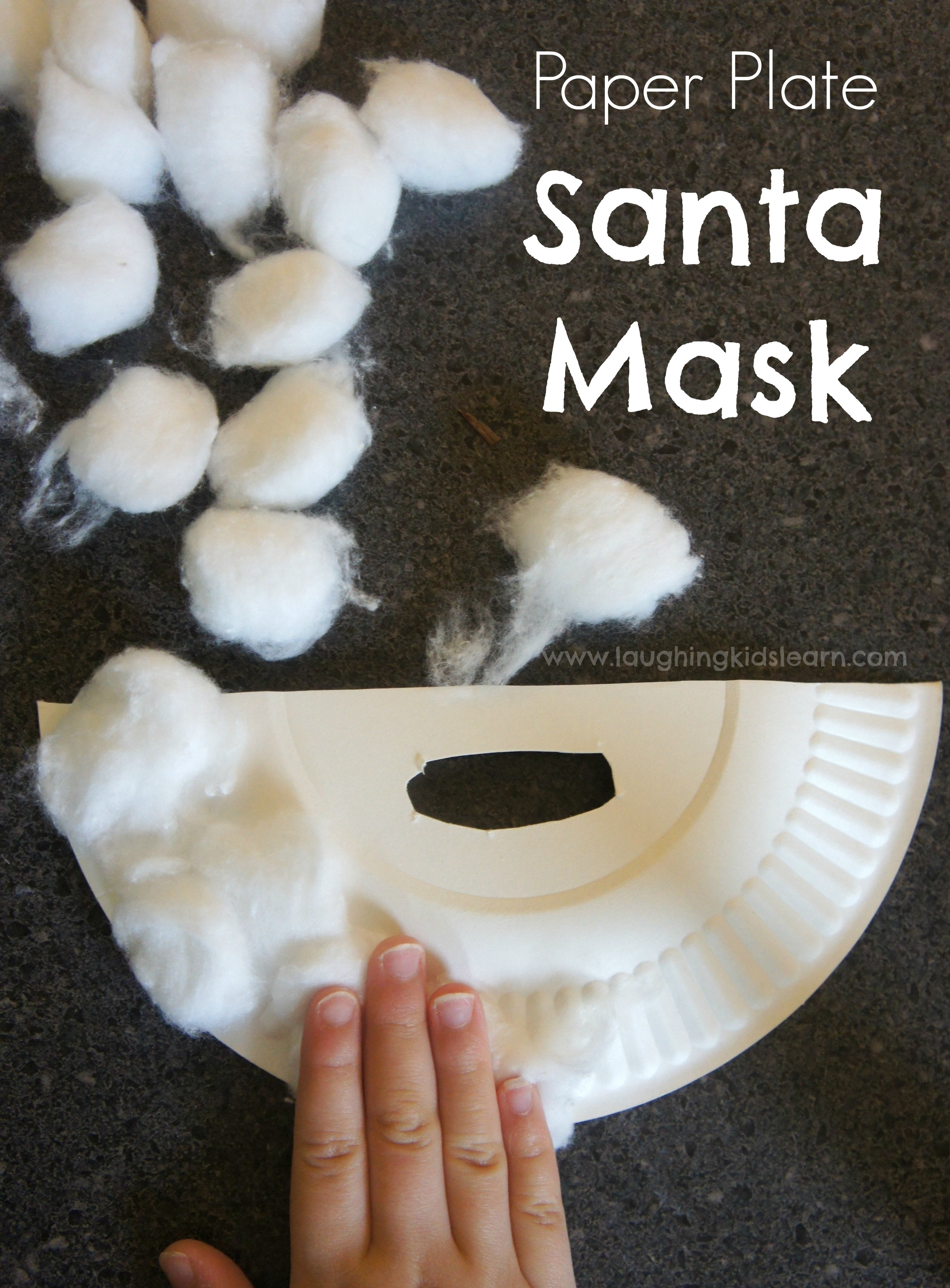 Paper plate Christmas Santa mask of a beard kids can make