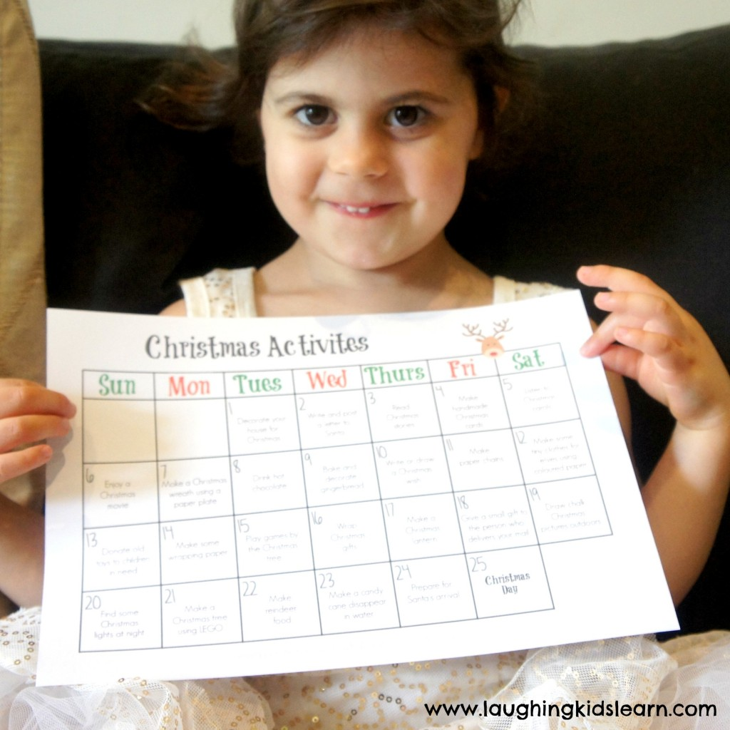 Christmas free printable that's a calendar of activities