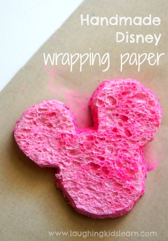 Print or stamp painting wrapping paper. This is Disney inspired Christmas wrapping paper kids will love to make themselves.