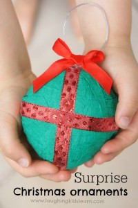 Pretty hanging Christmas ornament with a surprise gift inside