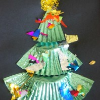 Little Christmas tree craft made from a cupcake liner