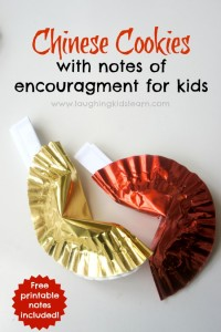 Chinese fortune cookies with notes of encouragement for kids