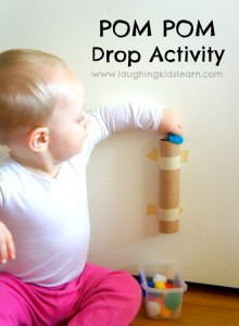 Pom Pom drop activity for babies and toddlers. Great for fine motor skills and developing cause and effect.