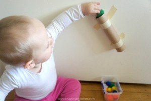 Pom pom drop activity for toddlers
