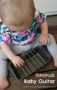 Homemade baby guitar instrument using rubber bands. Great for babies and preschool kids.