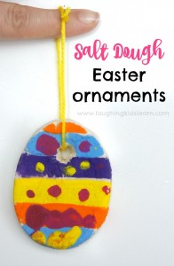 Salt dough Easter ornaments kids can make using a simple recipe. Great fun to decorate and hang.