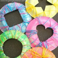 Simple sewing shapes using paper plates and yarn