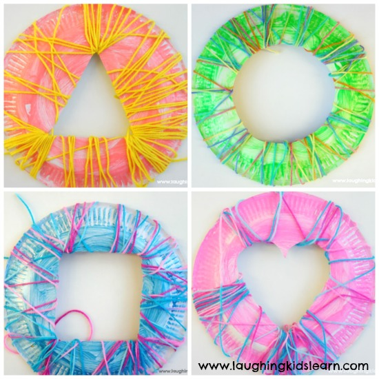 learn shapes with paper plates and yarn wrapped activity for kids