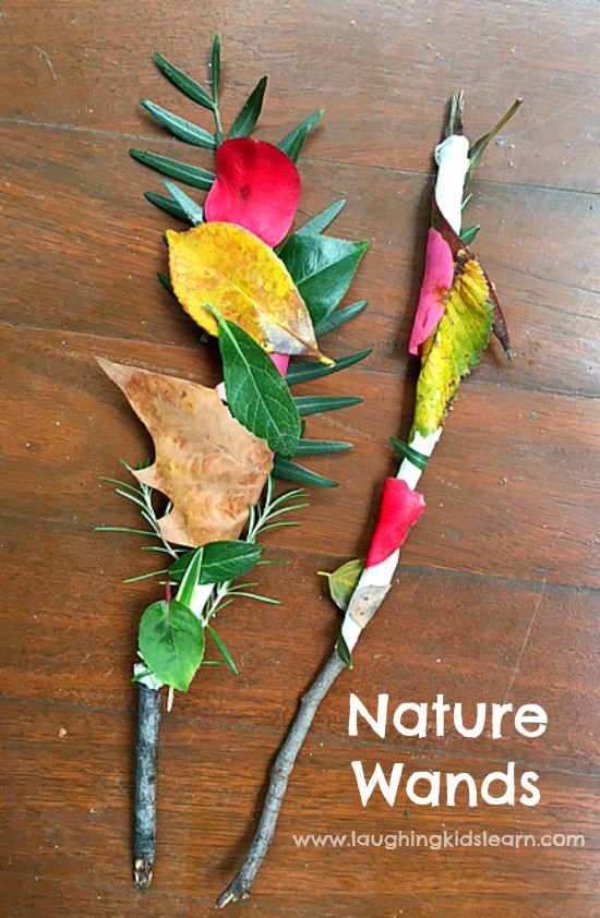 Nature wands for outdoor play laughing kids learn for Crafts made from nature