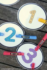 Peg the dot number counting cards with free printable