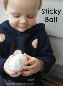 sticky ball sensory play for toddlers and babies