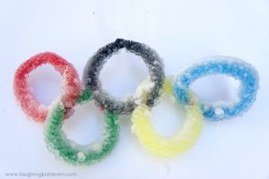 Simple science activity making Olympic Ring crystals