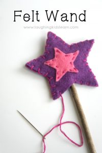 How to make a star felt wand for kids and can be a great gift idea.
