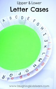 Learning upper and lower letter cases with a paper plate