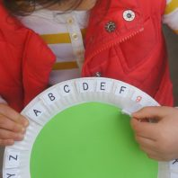 Learn upper and lower case letters using paper plates
