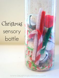 Christmas sensory bottle for babies and toddlers