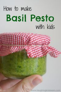 How to make basil pesto with kids in the kitchen
