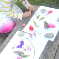 Decorating and adding nature to paper activity