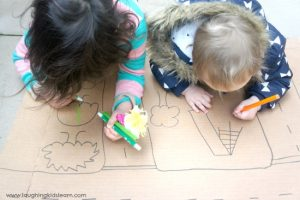 Create a play map using a cardboard box